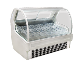 Italian Style Transparent Ice Cream Display Cabinet
